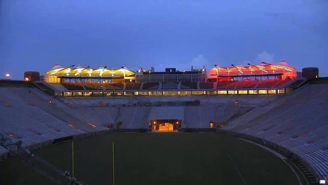 The Champions Club at night.