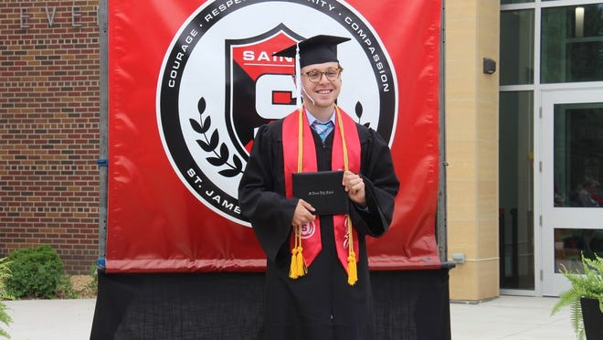St. James class of 2020 valedictorian Briar Lenz at graduation