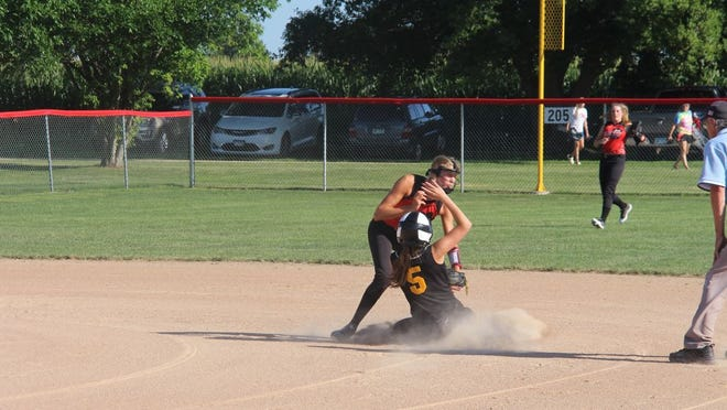 Jaelyn Haler tags out a Sleepy Eye runner at second on a strong throw from Torri Mohwinkel.