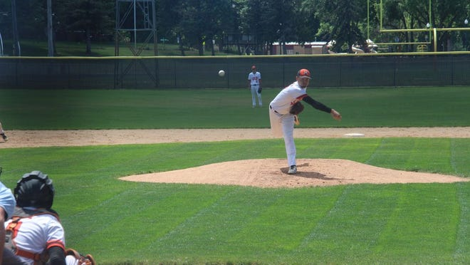 Tyler Duerksen fires in a pitch on Sunday afternoon.