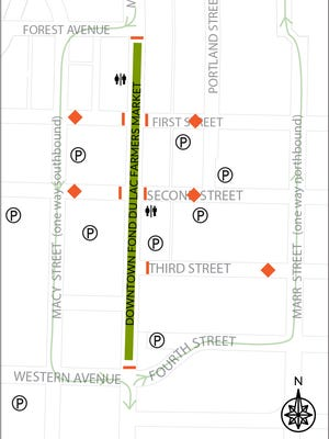 This map from the Downtown Fond du Lac Partnership notes new road closures for the Saturday farmers market.