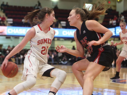 Rye defeated Somers in girls Section 1 semifinal action at the Westchester County Center in White Plains Feb. 27, 2018.
