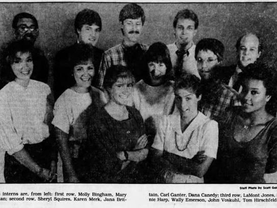 Dana Canedy, far right, front, as a news intern for