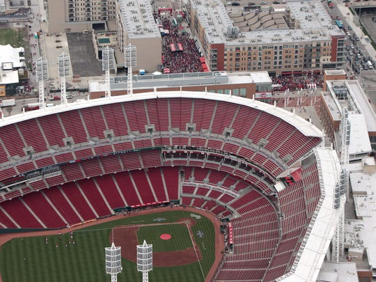 The Banks outside Great American Ball Park on Monday during the Opening Day Parade.