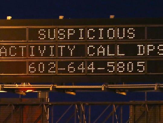 A sign along eastbound Interstate 10 near U.S. 60 urges