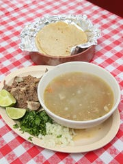A weekend special at Chilango Express is roast lamb with soup and handmade tortillas.