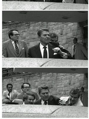 An assassination attempt on President Reagan in 1981. Secret Service agent Jerry Parr, right.