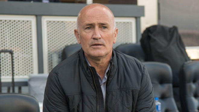 This photo from June 24 shows then-Earthquakes coach Dominic Kinnear before a match against Real Salt Lake in San Jose.
