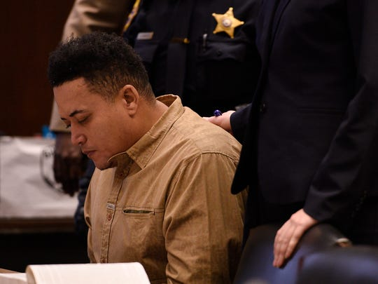 Pedro Pena, a Belleville man accused in the slaying of a township woman whose body was discovered in the trunk of her car in Newark, appears in court on Tuesday, Feb. 7, 2017 at Veterans Courthouse in Newark.