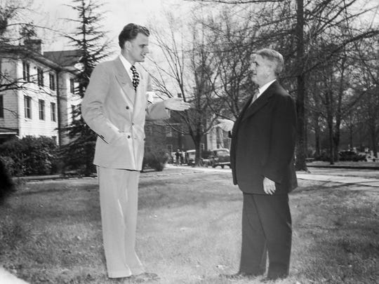 Rev. Billy Graham, left, and Dr. E.C. Grier at Erskine