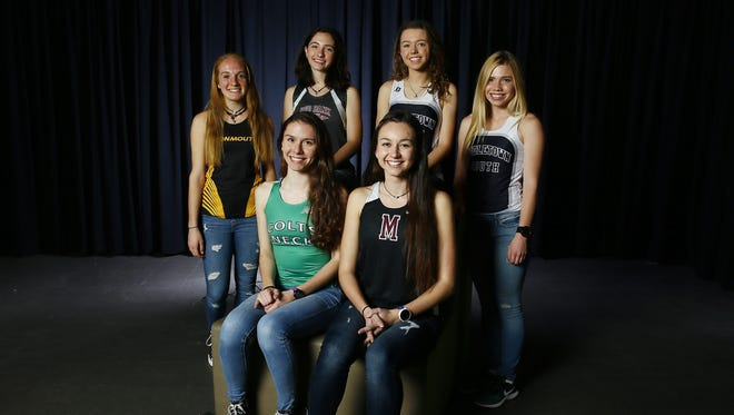 2017 All-Shore Girls Cross Country. Front row: Colleen Megerle of Colts Neck, l, Rachel Kenny of Matawan Regional. Back row: Amanda Stone of Monmouth Regional, Charlotte Cochrane of Red Bank, Kathleen Shay of Middletown South, Maddie Brand of Middletown South. December 6, 2017. Neptune, New Jersey