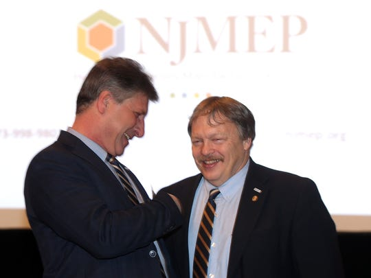 Chief Operating Officer at New Jersey Manufacturing Extension Program, Robert Stramara, l, talks with Dr. John W. Kennedy, CEO of NJMEP at the inaugural NJ State-of-the-State Manufacturing event attended by New JerseyÕs leading manufacturing business executives and elected state officials at the  Park Avenue Club in Florham Park.  March 31, 2017,  Florham Park, NJ