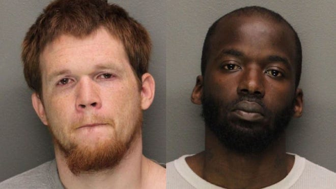 Zachary Hoger, left, and Thomas Moore, of Newark, have been arrested in connection with an armed robbery of a deli in Belleville.