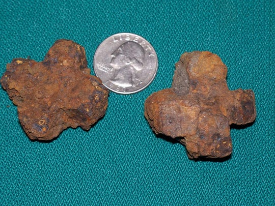 """Examples of the chisel """"star bits"""" that were used during hand-held chiseling and hammering at P. Joseph Raab County Park."""
