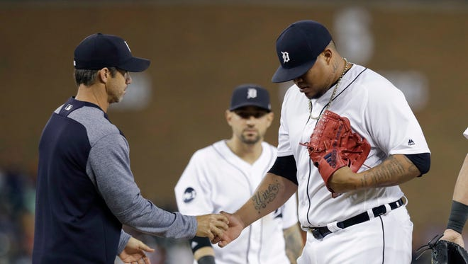 Tigers relief pitcher Bruce Rondon is removed during the eighth inning after giving up the lead on a three-run homer Friday night.