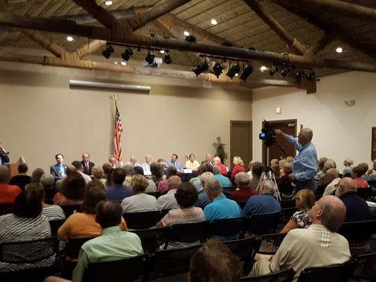 Residents gather in Rose History Auditorium to hear from the eight City Council candidates on Oct. 13. The Marco Island Area Chamber of Commerce, Marco Island Association of Realtors and Marco Island Civic Association hosted the event.