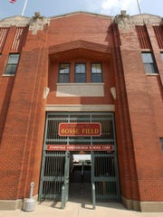 Bosse Field's main entrance was once a white facade, but now it is brick.