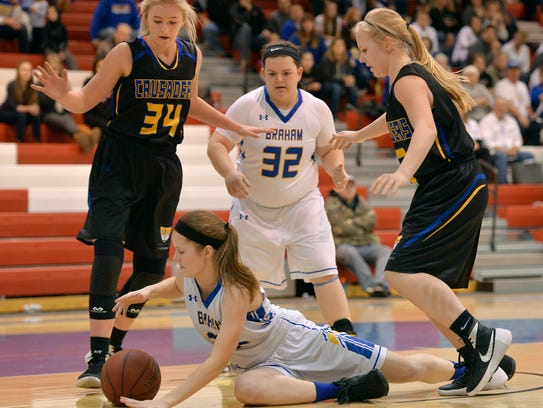 St. Cloud Cathedral's Hallie Hupf (34) and Abbey Medelberg
