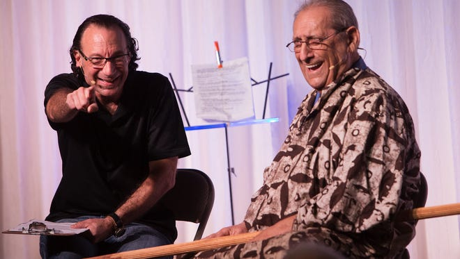 Harry Lichtcsien,82, of Harry's Senior Moment performs with director Leigh Shein for residents of Cinnamon Cove.