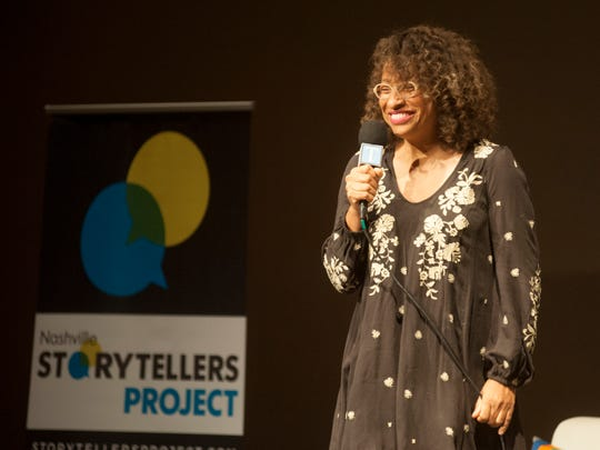 """Mignon Francois of The Cupcake Collection tells her story at the Noah Liff Opera Center during """"Nashville Storytellers: Behind the Kitchen Doors"""" on Monday, May 22, 2017, in Nashville."""