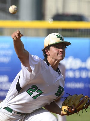Hokes Bluff's Payton Lemons pitches against Andalusia on May 16, 2018, during the AHSAA 4A State Baseball Finals at Riverwalk Stadium in Montgomery.