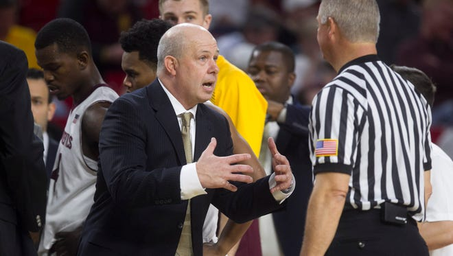 ASU head coach Herb Sendek argues a call with the referees during the second half of the men's college basketball game on Saturday, Dec. 13, 2014, at Wells Fargo Arena in Tempe. ASU won the game 81-74.