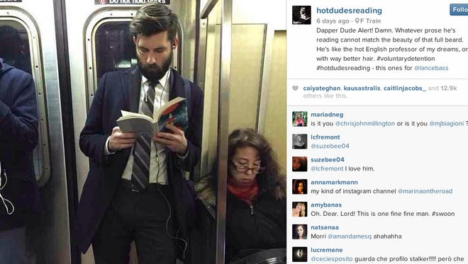 The Instagram account 'Hot dudes reading' was created a week ago and already has more than 156,000 followers.