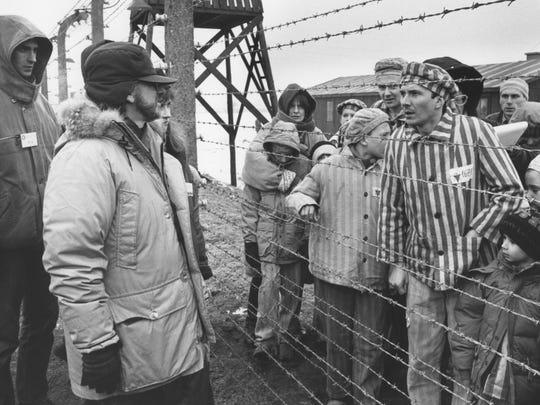 "Steven Spielberg works on the set of ""Schindler's List"""