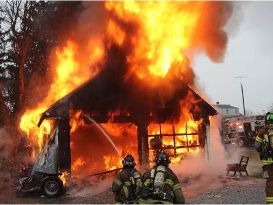 Firefighters with Franklin Fire Company arrived at 1921 Philadelphia Ave., Chambersburg, on Jan. 9, 2016, to find a garage fully engulfed in flames.