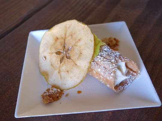 Apple Danziesen mascarpone cannoli with Black Mesa