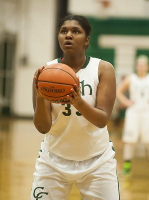 Brittany Garner shoots a foul shot during her playing days at Camden Catholic. She has recently transferred to Pennsauken High School.