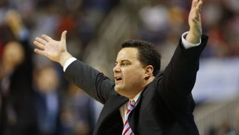 Arizona head coach Sean Miller reacts to a play against Xavier in the NCAA West Regional at SAP Center in San Jose, Calif. March 23, 2017. Arizona lost 73-71.