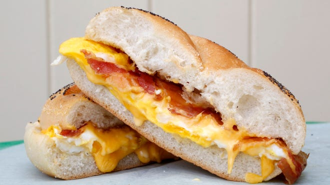 A classic bacon, egg and cheese on a roll.
