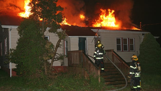 Fire crews battled a blaze on the 200 block of Garden Road early Monday morning.