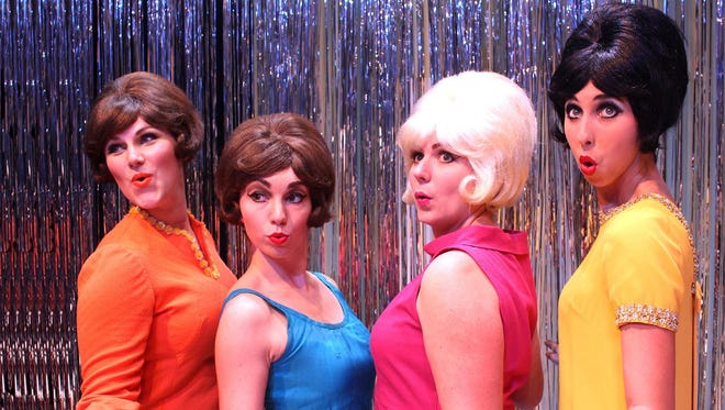 """From left, Jamie Ferguson of Clinton, McKenzie Pollock of Vicksburg, Holly Marie Weber of Tampa, Florida, and Heather Pate of Greenwood rehearse a scene from the Carey Dinner Theatre production of """"Beehive."""" The show runs July 7-18 in the Joe and Virginia Tatum Theatre on the Hattiesburg campus of William Carey University."""