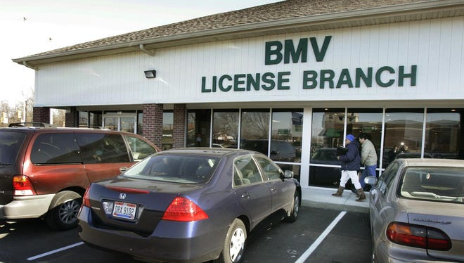 Photos shows exterior of the Indiana BMV branch at 10 S. Mickley Ave.