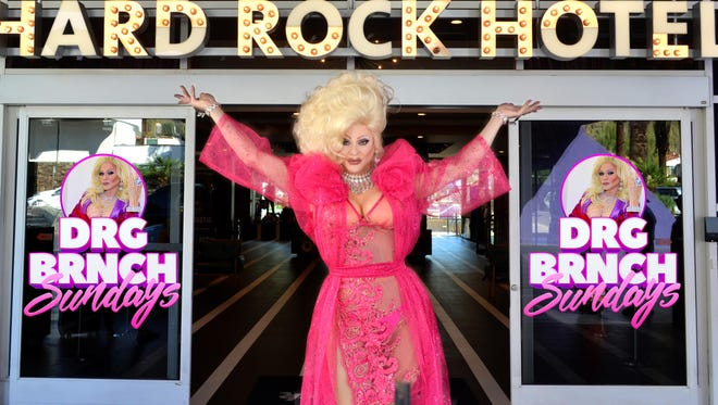 Drag performer Arial Trampway in front her DRG BRNCH venue, the Palm Springs Hard Rock Hotel.