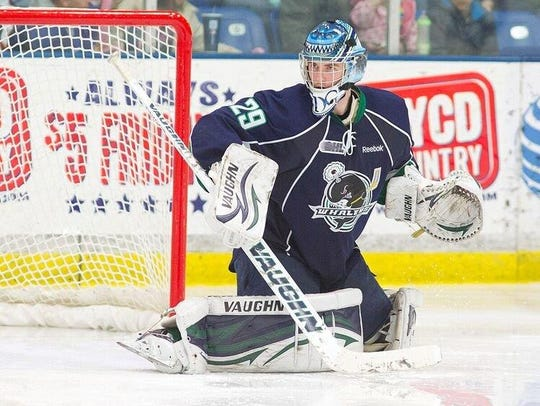 Scott Wedgewood competes for the Plymouth Whalers of
