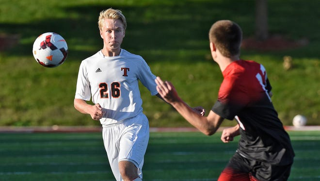 Tech's Ethan Gray concentrates on the ball during a Sept. 10 game against Alexandria at Husky Stadium in St. Cloud. Tech takes a 15-1-2 record into Tuesday's section final.