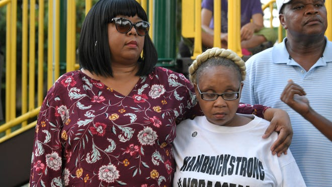 Vickie Hambrick, right, mother of police shooting victim Daniel Hambrick, attends a Black Lives Matter Nashville Justice for Daniel Hambrick event at Watkins Park in Nashville on Saturday, August 11, 2018 in response to the police shooting.