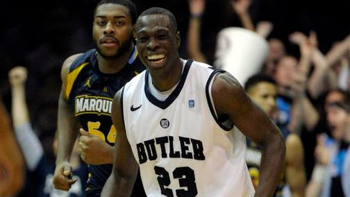 Butler forward Khyle Marshall smiles after scoring a basket during the Bulldogs' overtime victory over Marquette on Saturday.