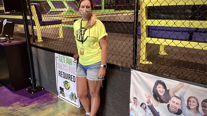 Get Air trampoline park Swansea manager Kimberly Ferrara said the closure of the Regal Cinemas 12 complex next door won't have a negative impact on her business, which is set to reopen this Friday.  Herald News photo by Charles Winokoor