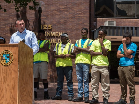 Salisbury mayor Jake Day speaks to the media about a new city sponsored youth employment program at the Government Office Building on Division Street on Wednesday, June 29, 2016.