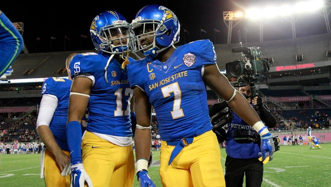 San Jose State football player Chad Miller, left, was stabbed over the weekend, school officials told The (San Jose) Mercury News.
