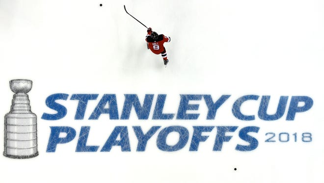 New Jersey Devils left wing Taylor Hall (9) and the Devils warm up to face the Tampa Bay Lightning in Game 3 of Round 1 of the Stanley Cup Playoffs at the Prudential Center in Newark, NJ on Monday, April 16, 2018.
