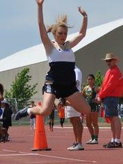 """Bailey Jones earned fifth in the triple jump with a 33' 8.75"""" leap."""