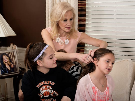 Kellyanne Conway fixes daughter Charlotte's hair as