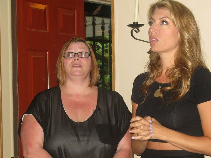 "Joy Klinkenberg, left, listens to design ideas from Genevieve Gorder, star of HGTV's ""Dear Genevieve,"" during an in-home consultation at Klinkenberg's Painted Post home."
