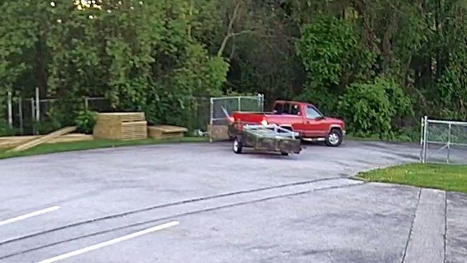Authorities say this pickup truck was used to take items from Coventry Middle School.