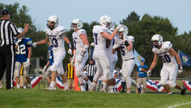 Beresford players celebrates after making a touchdown during a game against Bridgewater-Emery/Ethan at Beresford High School Friday, Aug. 17, 2018.